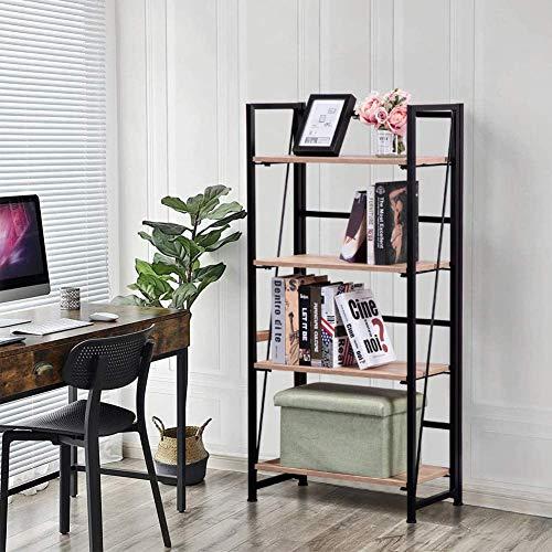 GOLDFAN Bücherregal mit 4 Etagen Retro Standregal aus Metall Küche Hochregal aus Holz Lagerregal Vintage Industrial für Wohnzimmer Arbeitszimmer Schlafzimmer, Braun