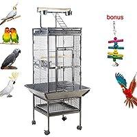 IKAYAA Jaula de Metal para Pájaro Negro Mascotas 47.5 * 48 * 152 cm / 18.7 * 18.9 * 59.8in, Cantidad1 PC con 4 comederos, 2 bandejas, 4 Ruedas