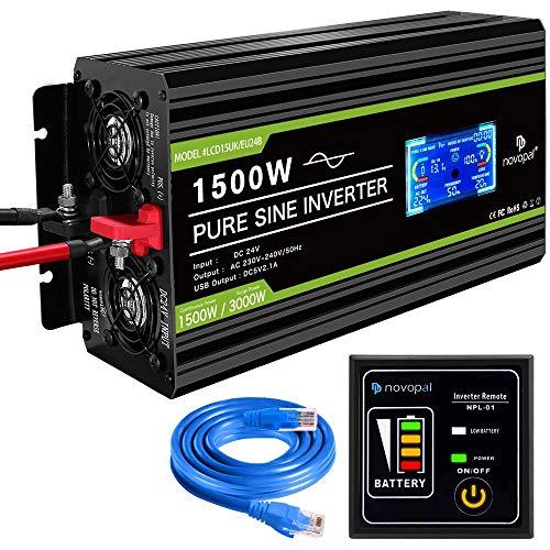 novopal® Spannungswandler24V auf 230V 1500W/3000W Reiner Sinus Wechselrichter -Konverter mit 2UK Steckdose und 2.1A USB-Port - inkl. 5 Meter Fernsteuerung mit LCD Bildschirm