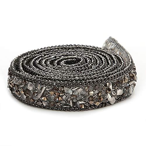 Cinta de Diamantes de imitación, 1.5 cm de Ancho Hotfix Colorido Gema Artificial Piedra Grava Cadena de Ajuste para Bricolaje Boda Zapatos de Vestir de Novia Decoración del teléfono(Gris)