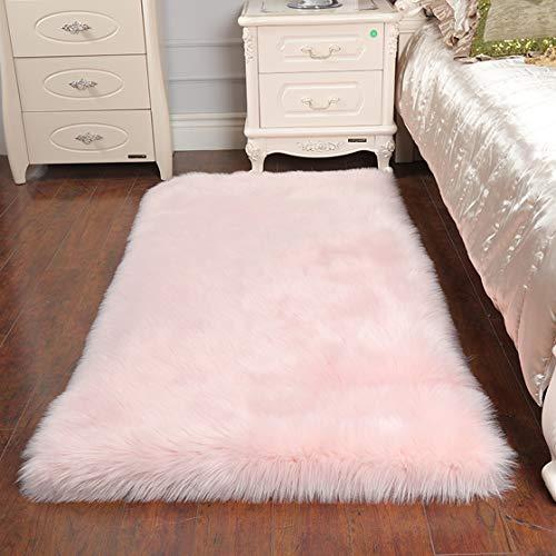 Cumay Faux Lammfell Schaffell Teppich (60 x 90 cm) - Geeignet für Wohnzimmer Teppiche Flauschig Lange Haare Fell Optik Gemütliches Schaffell Bettvorleger Sofa Matte,Pink