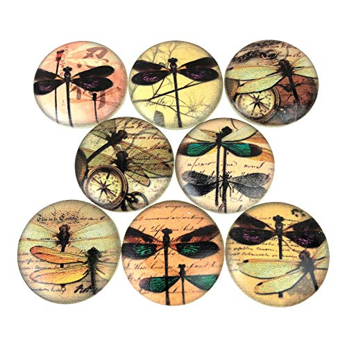Set of 8 Dragonfly Typography Wood Cabinet Knobs