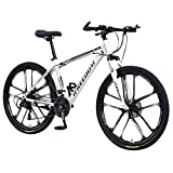 Sinerixc Mountain Bikes, 26-inch Wheels Mountain Trail Bike, 10-Spoke 21-Speed Gears Carbon Steel Full Suspension Frame Bicycles with Dual Disc Brakes, 2020 New Road Bikes for Adult