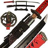 DTYES Full Handmade Japanese Samurai Katana Sword Real Ninja Sword Throwing Knives (Damascus Steel Clay Tempered Blade-Red Snake Tsuba Samurai Sword)