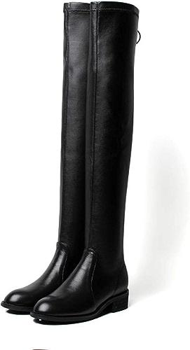 Bottes Mode pour Femmes en Cuir sur Les Bottes Au Genou Hiver Après Bottes Stretch Zippées Bottes Jambes Légères Chevalier