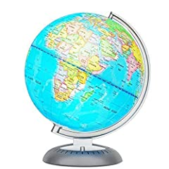 """DETAILED EDUCATIONAL 8"""" GLOBE 💡– Colorful Interactive Globe w/Easy-Read Details Indicates Deserts, Capitals & Continental, International & Regional Boundaries LIGHTS UP FOR USE IN DARK 💡– Illuminated World Globe Features Switch-Controlled LED Lights ..."""