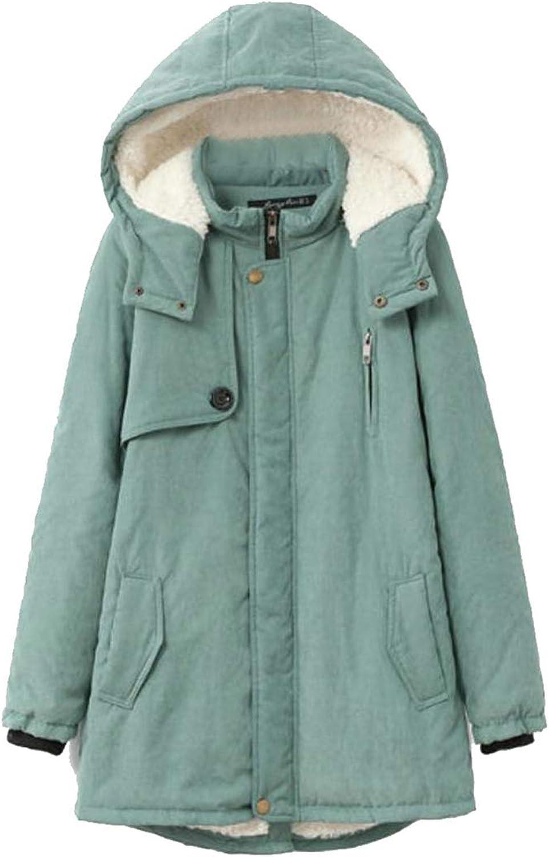 Conffetti Women Fleece Outside Fall Winter Hoodie Mid Length Plus Size Parka Coat
