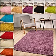 The Rug House Soft Non Shed Thick Plain Easy Clean Shaggy Rugs Ontario - 16 Colours and 8 (Mauve 60x...