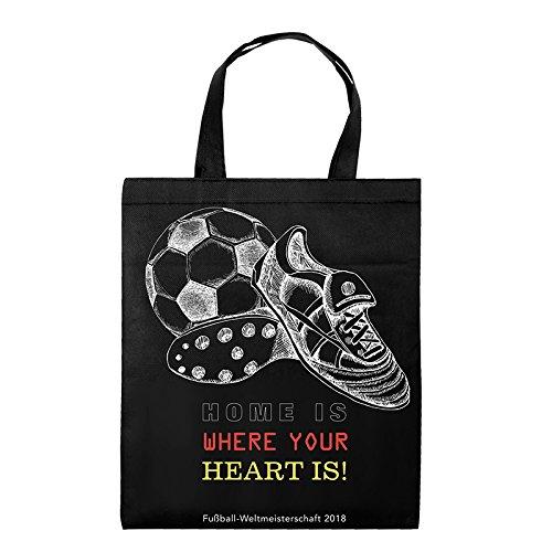 1x Einkaufstasche Motiv Soccer | 38 x 42 cm | Polypropylen | PP-Non-Woven-Tasche | Vliestasche | Stofftasche | Tragetaschen | Fußball-WM | Fußball-EM | Fanartikel | Deutschland