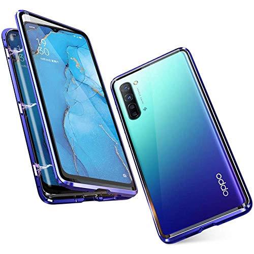 Handyhülle für OPPO Find X2 Neo / Reno3 Pro 5G, Hülle Magnetic Adsorption, Schutzhülle 360 Grad Komplett Schutz Hülle Metall Bumper mit Gehärtetes Glas Ultra Dünn Transparent Hülle Cover, Blau