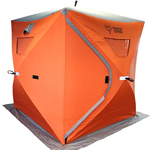 Trophy Strike 106708 Thermal Ice Shelter- Three Person Flame Retardant Shell with Windows