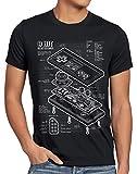 style3 NES Controlador Fotocalco Azul Camiseta para Hombre T-Shirt 8-bit Mario Donkey Bros Kong, Talla:L, Color:Negro