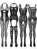 satinior 4 pezzi lingerie calze a rete donna abiti a rete body cavi a rete (nero, xl - xxl)