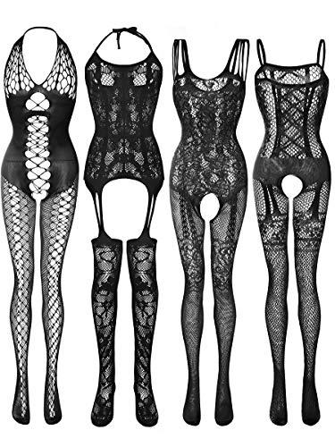 4 Pieces Women Mesh Lingerie Stockings Fishnet Dresses Hollow Fishnet...