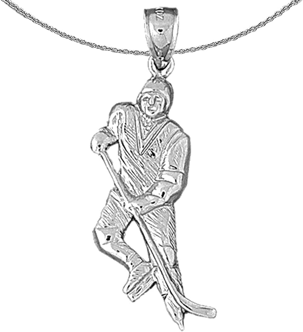 Jewels Japan Maker New Obsession Silver Hockey Player In stock Necklace Rhodium-plated