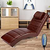 YOLENY Synthetic Leather Chaise Lounge with Massage Function,Massage Chair (Chocolate)