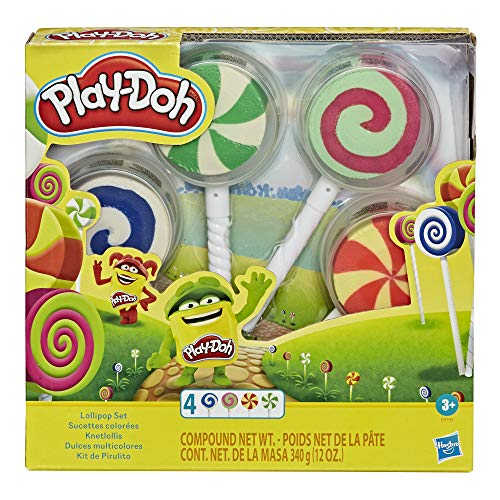 Play-Doh Lollipop 4-Pack of Pretend Play Candy Molds Filled with 3 Ounces of Non-Toxic Modeling Compound for Kids 3 Years and Up