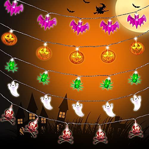 FORMIZON Halloween Cadena Luces, 5 Cadenas 1.8 Meter Fantasmas, Calabazas, Arañas, Esqueletos, Murciélagos Luces de Fantasma para Halloween, Halloween Luces para Decoración de Interiores y Exteriores