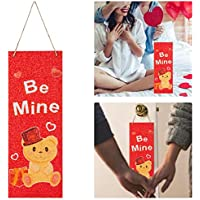 15.7 x 5.9 Inches Valentine's Day Vertical Wall Sign- Red Glitter Wooden Plaque Plank