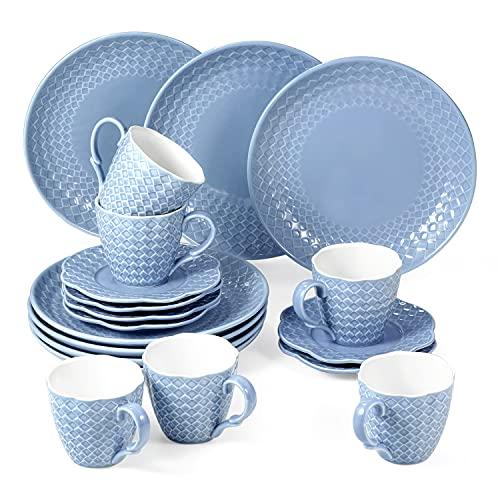 suntun Servizio di Piatti per 6 Persone, 18 pezzi New Bone China Servizio da Caffè in Porcellana Design Rilievo Vintage Blu Servizio da Tavola con 6 Piatti da Dessert, 6 Tazzine da caffè e 6 Piattini