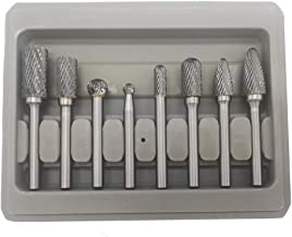 Carbide Burr Set, 8pcs Double Cut Solid Tungsten Rotary Burr Set 1/4-Inch Shank for Die..