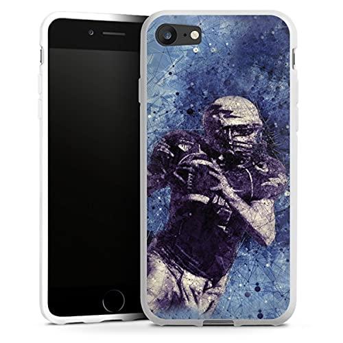 DeinDesign Silikon Hülle kompatibel mit Apple iPhone 7 Case weiß Handyhülle Sport Fußballer American Football