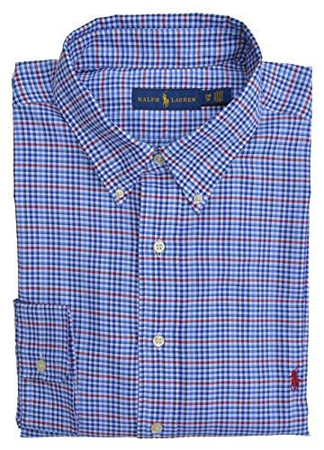 Ralph Lauren Big & Tall Hemd Button Down Shirt Blau Weiß Rot Schwarz kariert Größe 2XB