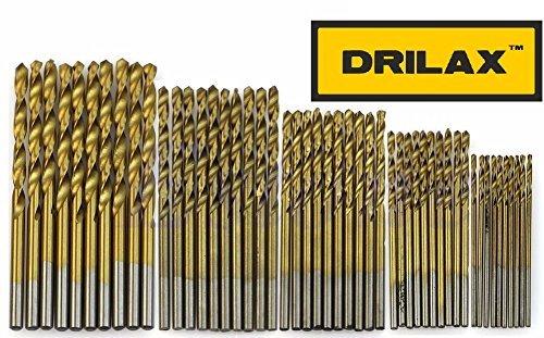 DRILAX 50 pcs 1mm 1.5mm 2mm 2.5mm 3mm Titanium Coated HSS High Speed Steel Drill Bit Tool Set