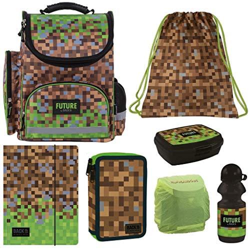Familando Schulranzen Set 7tlg. mit Federmappe Gaming Pixel grün schwarz Regen-/Sicherheitshülle