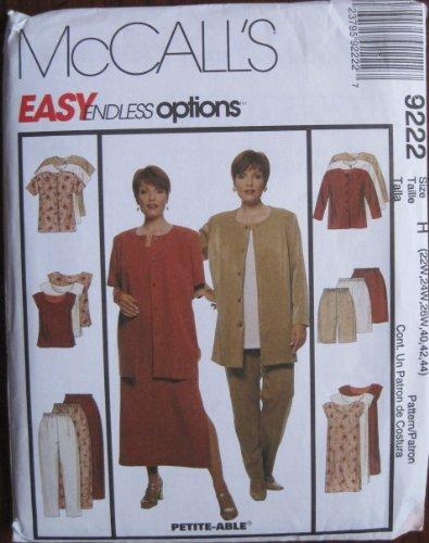McCalls M7104–Patrón 9222lisos de la mujer chaqueta, vestido, Top, pantalones y pantalones cortos tamaño H 22W26W 40, 42, 44