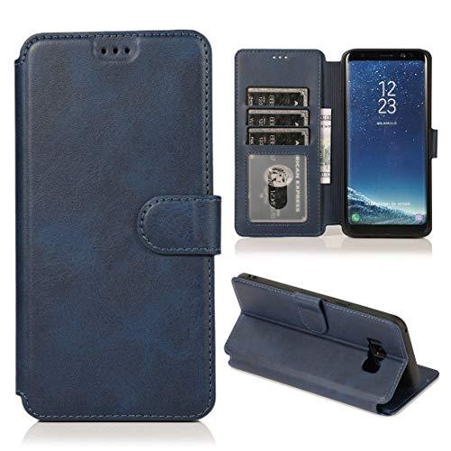 MOHAMED para Samsung Galaxy S8 Plus Calva Textura Hebilla magnética Flip Horizontal Funda de Cuero con Soporte y Ranuras para Tarjetas y Marco de la Billetera (Color : Blue)