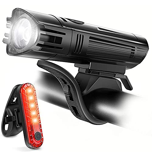 sdfkj Bike Light Set, USB Rechargeable Super Bright LED Waterproof Headlight Front Lights and Back Rear Bike Lights,Easy Mount Cycle Lights Fits All Bicycles,Mountain,Road