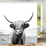 Kuh-Duschvorhang, lustiger Bauernhaus-Tier-Duschvorhang, Landhaus-Tier-Highland-Kuh, Duschvorhang, lustiger Blumensttier-Westerntier-Portrait Badvorhang-Set mit Haken, 170 x 178 cm