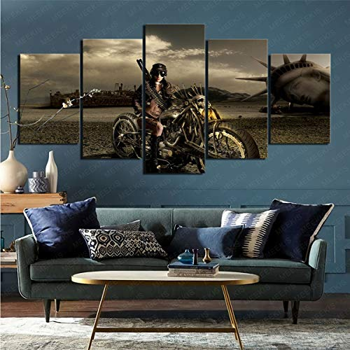 mmkow Acrylic Painting 5 Pieces of Science Fiction Doomsday Life Art Artist's Hobby Painter 100x200cm (Framed)