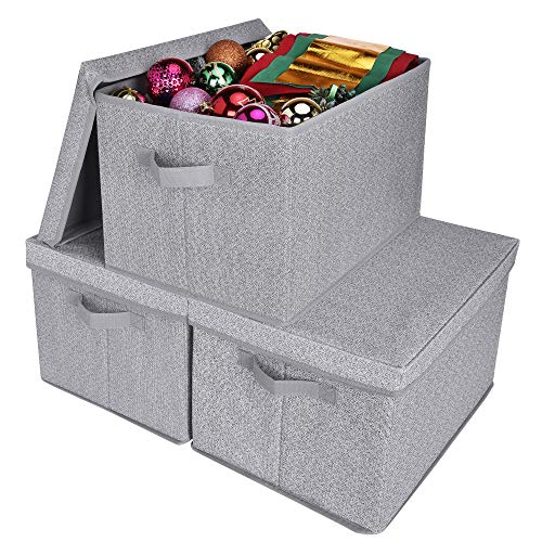 GRANNY SAYS Storage Bins with Lids and Handles, Rectangle Storage Basket, Gray, Jumbo, 3-Pack