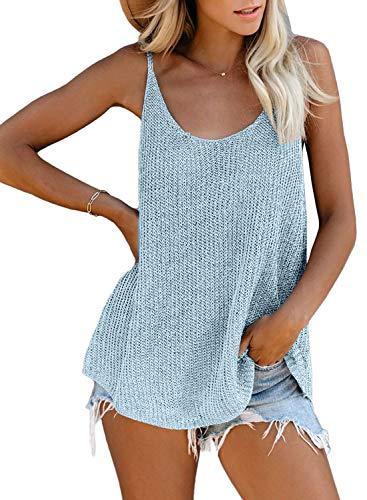 FIYOTE Damen Hemd Casual Bluse Top Chiffon Oberteile V-Ausschnitt T-Shirt Top Sommer Top Tank Tunika Elegant Weste Top M