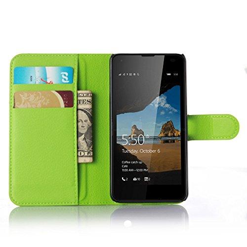 Ycloud Tasche für Nokia Microsoft Lumia 550 Hülle, PU Ledertasche Flip Cover Wallet Case Handyhülle mit Stand Function Credit Card Slots Bookstyle Purse Design grün