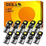 OXILAM 194 LED Bulbs, Widely Used as Car Truck Interior Dome Map Door Courtesy Marker License Plate Lights, 6000K White with High Power Chipsets for T10 168 2825 LED Bulbs Replacement (10 PCS)