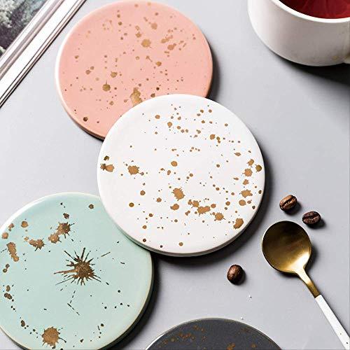 (4 Pièces) Tapis De Table Tasse À Café Tapis De Dessous De Verres En Céramique Liège Coaster Moderne Minimaliste Or Plancher Art Décoration De Bureau