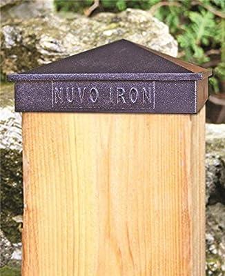 "Nuvo Iron Decorative Pyramid Aluminium Post Cap for 7.5"" x 7.5"" / 8"" x 8"" Posts - Black [12 PACK]"