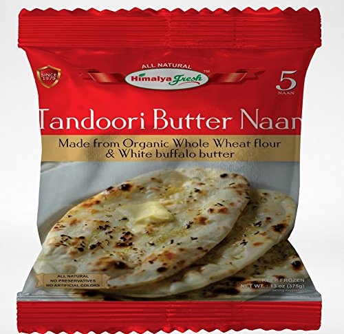 HIMALYA FRESH Tandoori Butter Naan (5 Bags, 5 Pieces Each Bag) - Premium Authentic Indian Food Bread Made With Made With Organic Wheat Flour and Butter - No Fillers Or Preservatives