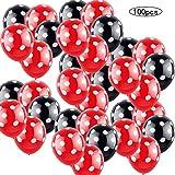 100 PSC Decoraciones de cumpleaños de Minnie Mouse rojas y negras para niñas Negro con Lunares Blancos y Rojo con Globos de Lunares Blancos para Bodas,Fiestas, cumpleaños,decoración de Fiestas