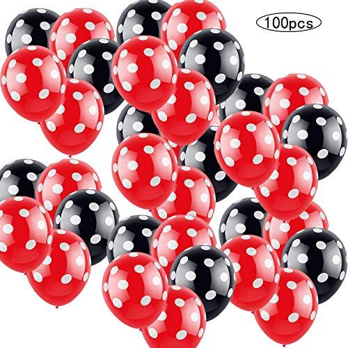 100 PSC Decoraciones de cumpleaños de Minnie Mouse rojas y negras para niñas...