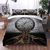 Bedsure Funda Nórdica,Reloj Vintage Que se Libera de un Tronco de árbol Un símbolo Surrealista,Fundas Edredón 240 x 260 cmcon 1 Funda de Almohada 40x75cm