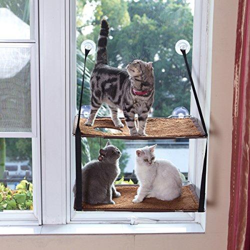 L.S Katzen Hängematten Fensterplatz Fenster Betten Katzenbett Bis zu 25kg Stabiler Metallrahmen Weiche Matten Katzenhängematte Sofas(Doppelt, Braun)