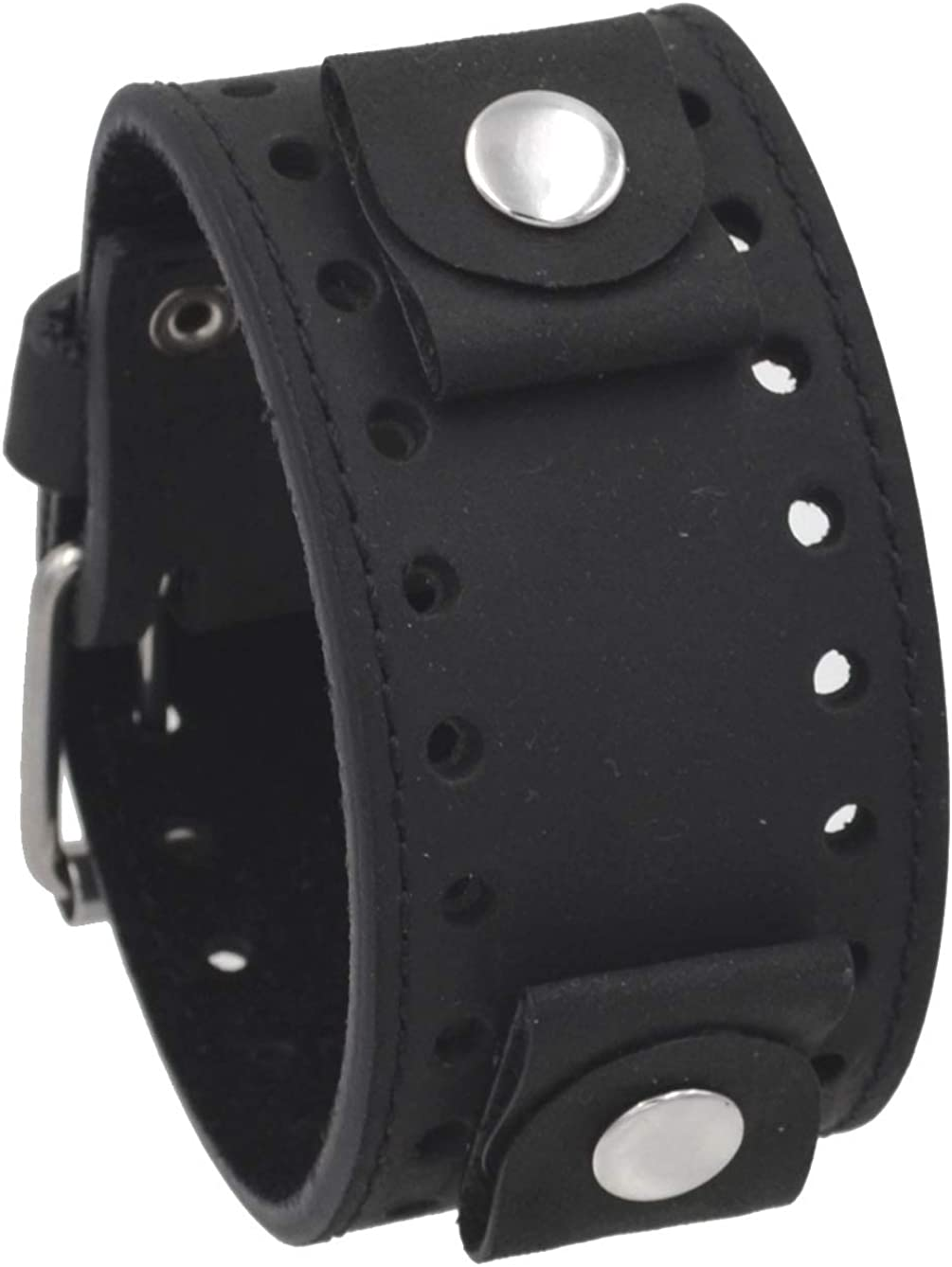 REV Crazy Horse We OFFer at Ranking TOP14 cheap prices Leather Strap Lug Black Width Cuff Wide Ba Watch