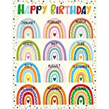 Happy Birthday Poster Chart Bright Color Rainbow with Dots 17' x 22' Class Birthday Decoration