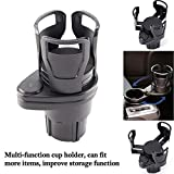 2 in 1 Multifunctional 2 Cup Holder,Car Cup Holder Expander Adapter, Mount Extender with 360° Rotating Adjustable Base to Hold Most 17oz - 20 oz Bottles Drink Coffee up to 5.9' Inch