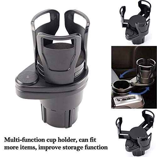 "2 in 1 Multifunctional 2 Cup Holder,Car Cup Holder Expander Adapter, Mount Extender with 360° Rotating Adjustable Base to Hold Most 17oz - 20 oz Bottles Drink Coffee up to 5.9"" Inch"