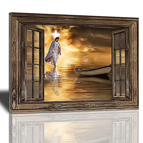 Jesus Decor Canvas Wall Art, Abstract Christ Cross Artwork Portrait Poster God Walking On Water Inspirational Painting Modern Home Decorations Framed Ready Hang For Living Room Bedroom office12x16inch